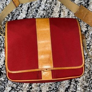 Red original vintage computer bag from coach